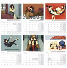 Láminas interiores calendario ilustrado de pared o sobremesa 2017 - Interior prints of the illustrated 2017 calendar. Regalo navidad. Christmas gift.