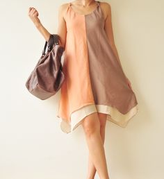 Two tone part II.... Cream-Orange Cotton Dress. $40.50 USD, via Etsy.