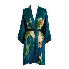 Silk Kimono Short Robe - Handpainted Crane (teal)