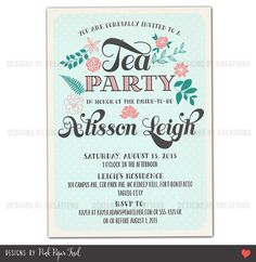 Rustic Vintage Shabby Chic Tea Party Invitation - Customizable Wordings - Printable  - Wedding - Bridal Shower - Baby Shower - Birthdays