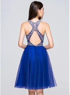 A-Line/Princess Scoop Neck Knee-Length Beading Sequins Zipper Up at Side Regular Straps Sleeveless No Royal Blue Spring Summer Fall General Plus Chiffon Homecoming Dress