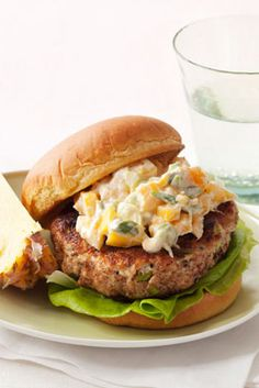 Put a tropical twist on your usual burger night with a mango-yogurt topping. Piña colada not included.   Get the recipe for Island Burgers »