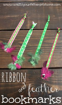 Make a fun & festive ribbon and feather bookmark for your growing stack of books via waittilyourfathergetshome.com #ribbon #feathers #sponso...