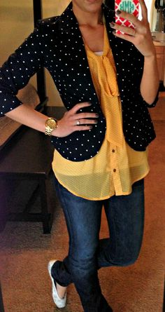 polka dot blazer and blouse