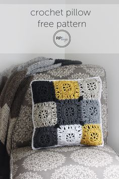 FREE PATTERN for a decorative square crochet pillow!! || by Rescued Paw Designs