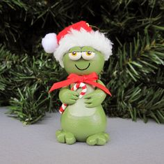 Santa Frog Ornament by SanquiCreations on Etsy