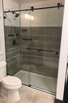 One of our recent installations - a smooth, silent sliding Metro shower door. Framed Shower Door, Frameless Sliding Shower Doors, Glass Shower Doors, Sliding Doors, Bathtub Doors, Bathroom Fixtures, Panel Doors, Home Staging, Corner Bathtub