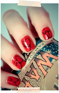 red heart valentine nails