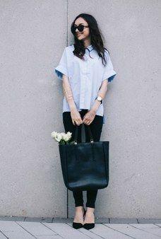 A Short-Sleeve Shirt and Black Cigarette Pants