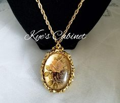 Max Factor Rose Locket Necklace, Solid Perfume Locket Pendant Gold Tone Necklace,  1960's Hypnotique Line Old Fashioned Roses