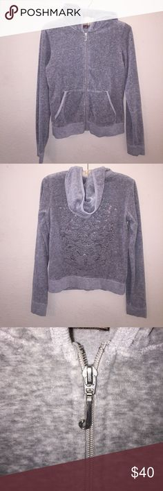Juicy Couture Velor Zip Up Size L, excellent condition. No flaws or stains. Soft grey color. Material is extremely soft. Feel free to ask any questions! No trades sorry, && offers thru offer button only! Juicy Couture Jackets & Coats