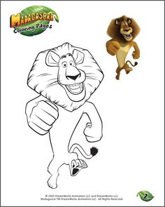 Color Alex - 2 - Free Madagascar Coloring Page for Kids