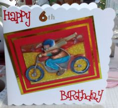 Decopage hand made childrens card