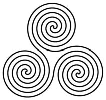 Triple spiral, celtic triskele is sometimes called the spiral of life.  It was found in Newgrange site in Bronze age (or older) Ireland.  It remained in Celtic  art for 3,000 years.  Celts believed all life moved in eternal cycles, regenerating at each point.  All important things came in three phases:  birth, death and rebirth.  Mind, body & spirit.