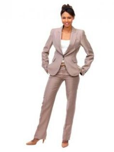 Woman in a Tan Business Pant Suit.