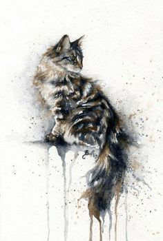 *Watercolor - Cat by Braden Duncan - Art / Artwork Cat Drawing, Painting & Drawing, Watercolor Paintings, Tattoo Watercolor, Watercolors, Cat Watercolour, Portrait Watercolour, Watercolor Fashion, Fashion Painting