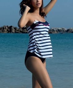 Take a look at this Navy Marina Maternity Strapless Tankini on zulily today!