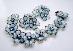 Vintage Bracelet Set Ice Blue Floral by SunburyVintageStore