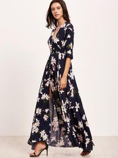 Fabric: Fabric has some stretch Season: Summer Type: Peasant Pattern Type: Floral Sleeve Length: Half Sleeve Color: Navy Dresses Length: Maxi Style: Beach Material: 100% Rayon Neckline: Deep V Neck Si