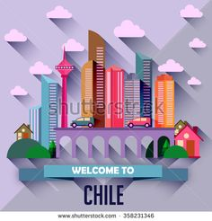chile - Flat design city vector illustration - stock vector