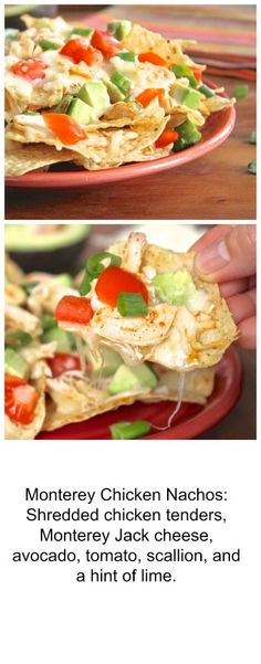 Monterey Chicken Nachos Appetizer Salads, Appetizer Recipes, Appetizers, Lunches And Dinners, Meals, Monterey Chicken, Great Recipes, Favorite Recipes, Chicken Nachos