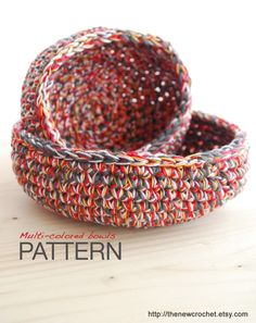 Crochet PATTERN: Multi-colored Bowls - 2 sizes. €2.45, via Etsy.