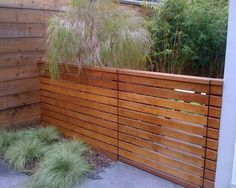 Horizontal wood slats with slight gap in between for fence and entry gate, wood same as siding, or similar Modern Wood Fence, Wood Fence Design, Yard Design, Front Yard Fence, Fence Gate, Driveway Fence, Fencing, Up House, House Front