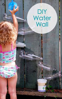 Water wall, bubble snakes.  Outdoors DIY Play Area For Kids - DIY Water Activities Wall - DIY Projects & Crafts by DIY JOY at http://diyjoy.com/fun-outdoor-crafts-for-kids