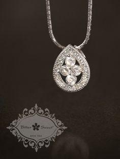 Bitter Sweet Jewellery, fine sterling silver vintage style Pendant. #Toronto #fashion #pendant #pear #teardrop #vintage #CZ #timeless