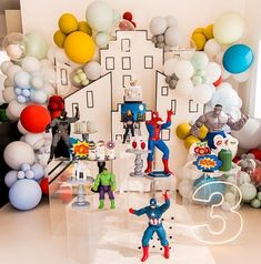 Fun Party Themes, Birthday Party Decorations, Boy Birthday Parties, Baby Birthday, Maze Design, Balloon Flowers, Festa Party, Superhero Party, Lets Celebrate