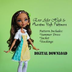 Monster High & Ever After High Doll Clothes Pattern by DGRequiem. Great patterns for more appropriate doll clothes. Love that maker shares that all patterns can be resized by for Gooliope and other MH and EAH dolls. Doll Clothes Patterns, Pdf Sewing Patterns, Doll Patterns, Clothing Patterns, Monster High Clothes, Monster High Dolls, Summer Dress Patterns, Summer Dresses, Thing 1
