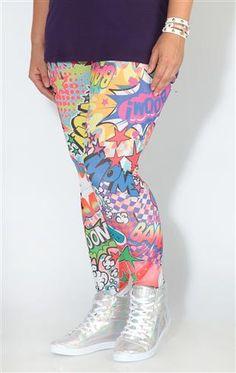 plus size multicolor comic leggings