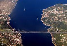 Europe & Asia The Fatih Sultan Mehmet Bridge Istanbul, Turkey Wonderful Places, Beautiful Places, Bosphorus Bridge, Turkey Europe, Spain And Portugal, Birds Eye View, Istanbul Turkey, Places Ive Been, The Good Place