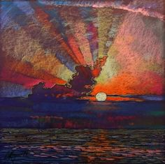 ARTFINDER: sunset by Sergey Kachin - cm This work will look beautiful in your interior. The painting is sold unframed. If you have any questions about this picture, please send me messa. Landscape Art Quilts, Landscape Paintings, Pastel Drawing, Cool Landscapes, Art Plastique, Fabric Art, Medium Art, Impressionism, Collage Art