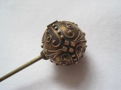 Victorian Hat Pin - Antique Gold Washed Hatpin