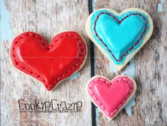 Puffy Stitched Heart Cookies  Cookie Crazie