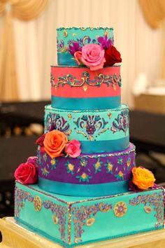 Hand painted and designed Indian inspired wedding cake. Indian Weddings Inspirations. Blue Wedding Cake. Repinned by #indianweddingsmag indianweddingsmag.com #weddingcake
