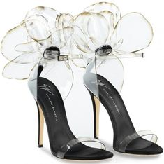 """These couture sandals are made from transparent vinyl with inserts in black satin and suede. They are adorned with the Peony """"Flower"""" application and set on a leather logo sole. Women's Shoes Sandals, Pumps Heels, Stiletto Heels, Black Sandals, Strappy Sandals, Heeled Sandals, Stilettos, Cute Shoes, Me Too Shoes"""