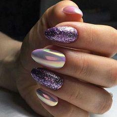 Cute Acrylic Nail Designs, Cute Acrylic Nails, Glitter Nails, Nail Art Designs, Oval Nails, Dream Nails, Purple Nails, Holiday Nails, Long Nails