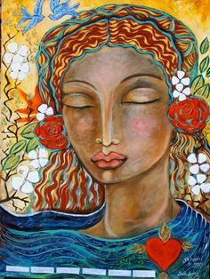 artist: Shiloh Sophiacame to this image on my birthday in meditation. Sacred Feminine, Divine Feminine, Feminine Energy, African American Art, Shiloh, Illustrations, Mother Mary, Sacred Art, Our Lady