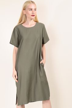 Cut-Out Back Midi Dress (Army Green) SGD$ 39.00