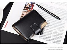 BeesClover Ultra Thin Mens PU Leather Wallet Mini Magic Wallets and Zipper Coin Purse Plastic Credit Card Case Holder Coin Pouch Black