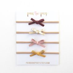 Tiny Dainty Leather Bow Headbands Hand-Tied on by primandposy