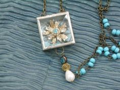 Soldered shadowbox pendant with vintage by HeartsandBonesStudio, $84.00