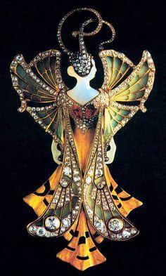 Art Nouveau кулон , созданный братьями Vever (Paul Vever, 1851-1915 / Анри Vever, 1854-1942) в Париже. Золото, агата, рубины, бриллианты, перегородчатой-а-Жур эмали. Он был представлен на Всемирной выставке в Париже 1900. драгоценный камень находится в коллекциях Bibliothèque Des Arts Decoratifs в Париже / Франция.