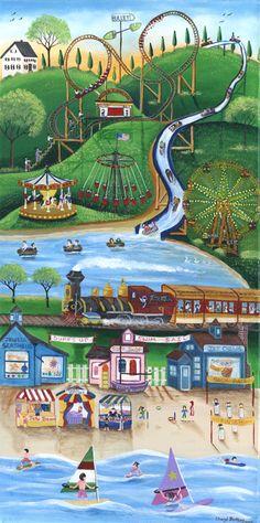 Carnival By The Seaside - Cheryl Bartley Landscape Artwork, Watercolor Landscape, Watercolor Paintings, Art Paintings, Naive Art, Print Artist, Painting Frames, Seaside, Folk Art