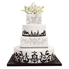 White and Black Damask Wedding Cake - Enjoy the lavish style of a glittering black-tie wedding - Wedding Cake