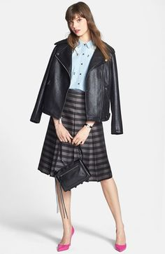 Kenneth Cole New York Moto Jacket, Halogen® Denim Shirt & Midi Skirt  available at #Nordstrom