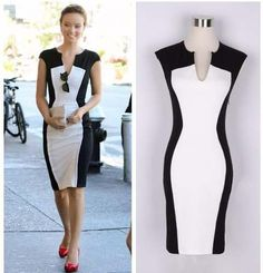 Summer 2014 Fashion Sleeveless Dress Women's Black And White Patchwork Pencil Dress Women V-neck Casual Dresses Plus Size Sexy(China (Mainland)) Cute Dresses, Beautiful Dresses, Casual Dresses, Fashion Dresses, Dresses For Work, Cheap Dresses, Prom Dresses, Stylish Dresses, Casual Wear