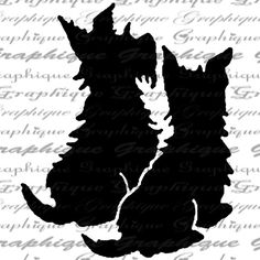 Scottie Dogs Silhouette Puppy Dog Digital Image by Graphique